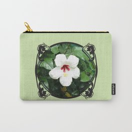White Hibicus Flower Carry-All Pouch