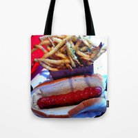 hot dog Tote Bags featuring hot dog by smilingbug