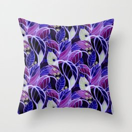 Violets and Blues Throw Pillow
