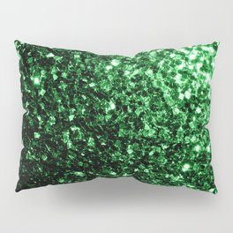 Glamour Dark Green glitter sparkles Pillow Sham