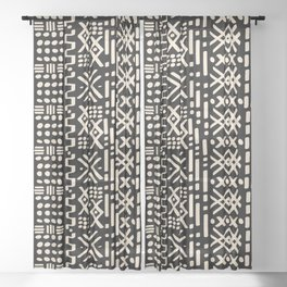 Mudcloth No. 2 in Black + White Sheer Curtain
