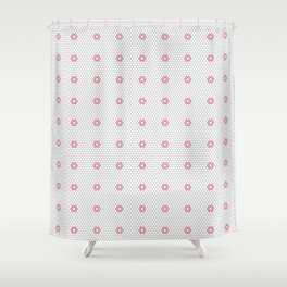 Pink Flower Hexagon Tile Pattern Shower Curtain