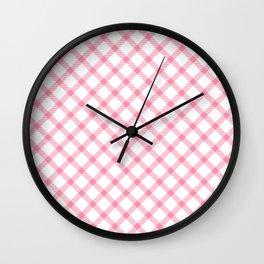 Pink and White Tartan Wall Clock