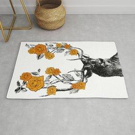 The Stag and Roses | Deer and Flowers | Orange | Vintage Stag | Vintage Deer | Antlers | Woodland | Rug
