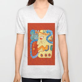 MAYAN GLYPH OF A SPIRIT UNNAMED Unisex V-Neck