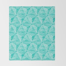 Geodesic Palm_Turquoise Throw Blanket