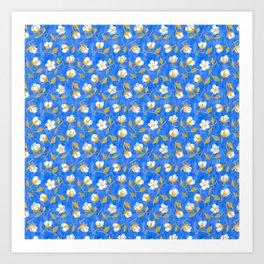 Painterly cotton flowers // in cobalt blue Art Print