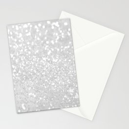Chic elegant glamour white faux glitter Stationery Cards