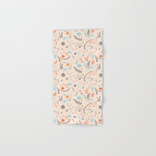 Floral Pattern with Flowers and Leaves Hand & Bath Towel