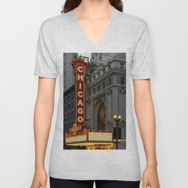 Chicago Theatre Sign Downtown State Street Historic Theater Marquee Unisex V-Neck