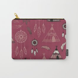 American indian pattern with dream catcher, wigwam and feather crown.  Carry-All Pouch