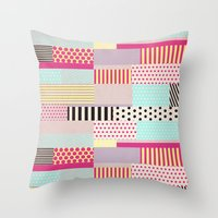 tape Throw Pillows featuring Decorative Tape by Louise Machado