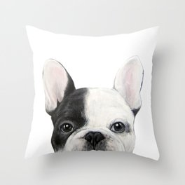 French Bulldog Dog illustration original painting print Throw Pillow