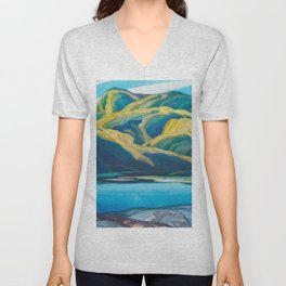 Canadian Landscape Oil Painting Franklin Carmichael Art Nouveau Post-Impressionism Lone Lake Unisex V-Neck