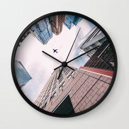 Plane Over New York City Wall Clock
