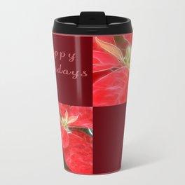 Mottled Red Poinsettia 1 Ephemeral Happy Holidays Q10F1 Travel Mug