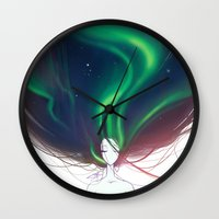 northern lights Wall Clocks featuring Northern lights by Tiphs