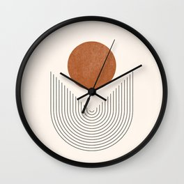 Boho Geometric Shapes, Abstract Lines and Shapes, Arch Lines, Burnt Orange - Mid-century Sun Wall Clock