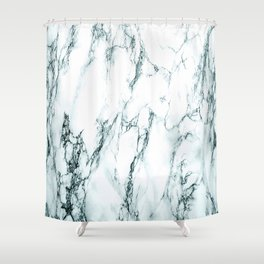 Green Marble Look Shower Curtain