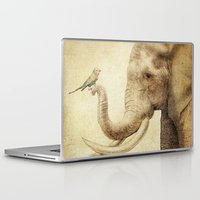 marc Laptop & iPad Skins featuring A New Friend (sepia drawing) by Eric Fan