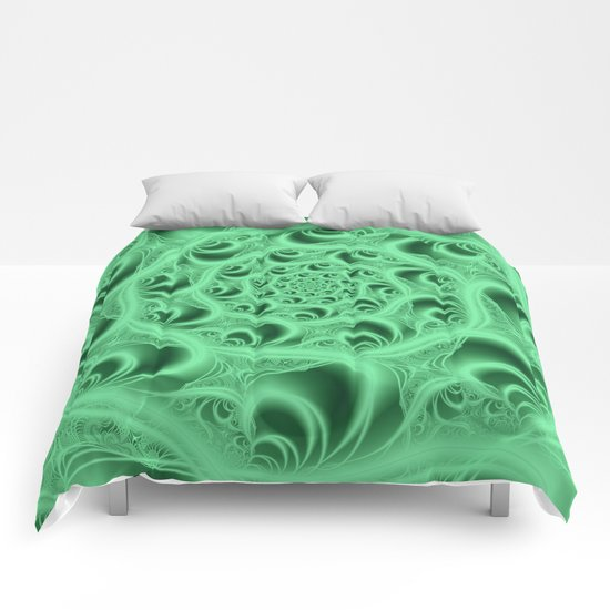 Fractal Web in Flourescent Green Comforters