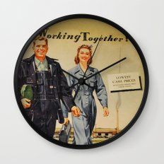 1942 Working Together Cover Wall Clock