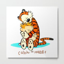 Calvin And Hobbes embraced Metal Print