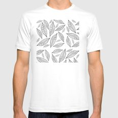 Black and White Simple Leaves one White SMALL Mens Fitted Tee