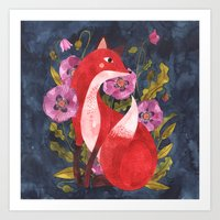 oana befort Art Prints featuring FOX & FLORA by Oana Befort