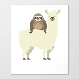 Cute & Funny Sloth Riding Llama Canvas Print