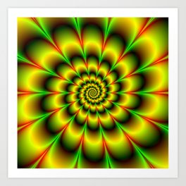 Spiral Rosette in Yellow Green and Red Art Print