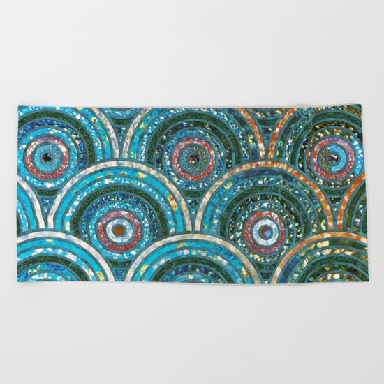Aqua Teal Blue and Green Sparkling Faux Glitter Circles and Dots Beach Towel