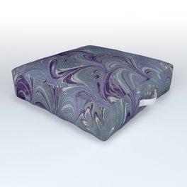 Purple, Blue, & Green Marbled Outdoor Floor Cushion