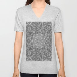 Gray Center Swirl Mandala Unisex V-Neck