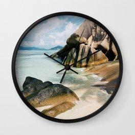 Gorgeous Beach in the Seychelles Islands Wall Clock