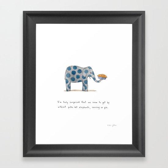 polka dot elephants serving us pie Framed Art Print