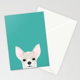 Chihuahua dog head pet art dog breed chihuahuas peeking Stationery Cards