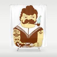 sailor Shower Curtains featuring Sailor by Regina Rivas Bigordá