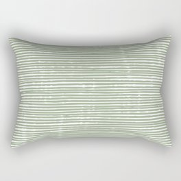 Stripes, Mudcloth, Sage Green, Boho Wall Art Rectangular Pillow