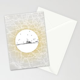 Abilene, Texas City Skyline Illustration Drawing Stationery Cards