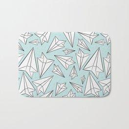 Paper Airplanes Mint Bath Mat