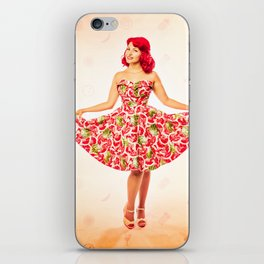 """""""Check Out These Melons"""" - The Playful Pinup - Girl in Watermelon Dress by Maxwell H. Johnson iPhone Skin"""