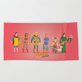 Dungeons and Dragons - Pixel Nostalgia Beach Towel