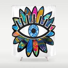 Greek Evil Eye Blue Flower Shower Curtain