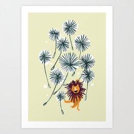 Lion on dandelion Art Print