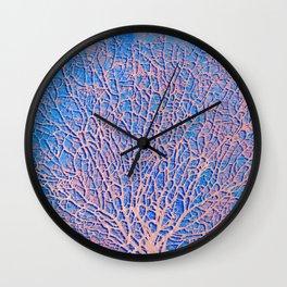 Pink abstract sea fan coral Wall Clock