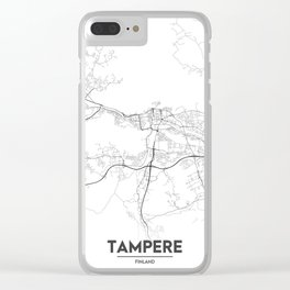 Minimal City Maps - Map Of Tampere, Finland. Clear iPhone Case