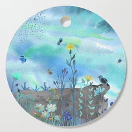 Blue Garden I Cutting Board