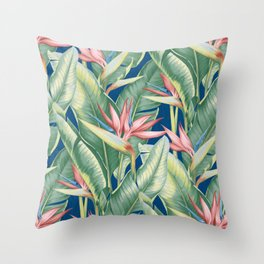 Flowers Birds of Paradise Throw Pillow