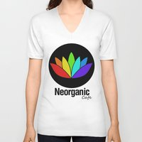 cafe V-neck T-shirts featuring Neorganic Cafe by oldi
